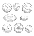 Sporting balls and hockey puck isolated sketches vector image vector image