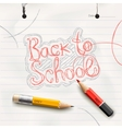 Back to school handwritten with red pencil vector image vector image