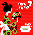 Japanese girl silhouette vector image