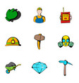 miner icons set cartoon style vector image vector image