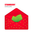 red open envelope with the texture of strawberries vector image vector image
