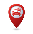 car with accumulator icon red pointer vector image vector image