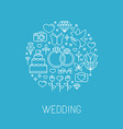 wedding emblem in outline style vector image