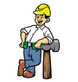 contruction worker lean on a big hammer vector image vector image