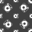 Gramophone vinyl icon sign Seamless pattern on a vector image