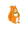 cartoon squirrel in green scarf isolated vector image