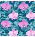Hand drawn seamless pattern with Phalaenopsis pink vector image