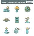 Icons line set premium quality of plants growing vector image