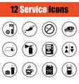 Set of twelve Petrol station icons vector image