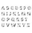 steel letters metal font vector image