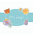 Baby born sweet boy congratulation postcard vector image