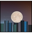 Buildings and the moon in the sky vector image