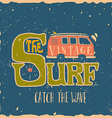 Vintage summer surf print with a mini van and 70s vector image