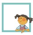 girl in blue frame vector image vector image