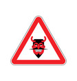 attention devil dangers of red road sign satan vector image