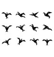 black paper birds icons set vector image