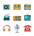 Retro media icons in flat style vector image