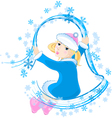 The little girl and snowflakes vector image