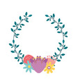 wreath with flowers decorative icon vector image