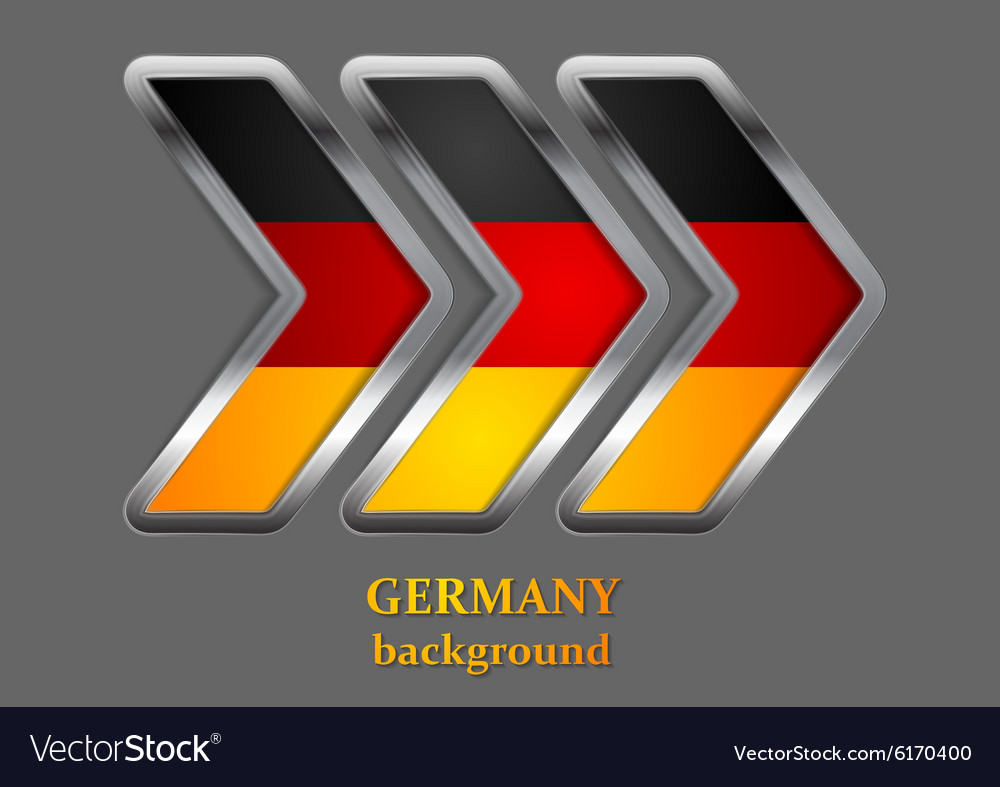 Abstract metallic arrow german colors vector
