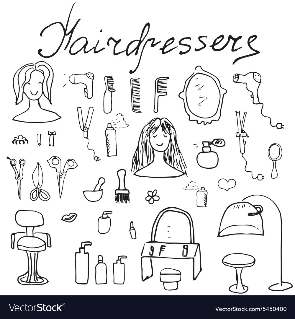 Hairdresser equipment doodles set handdrawn vector