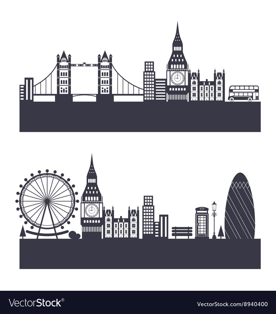 Silhouette background of abstract london skyline vector