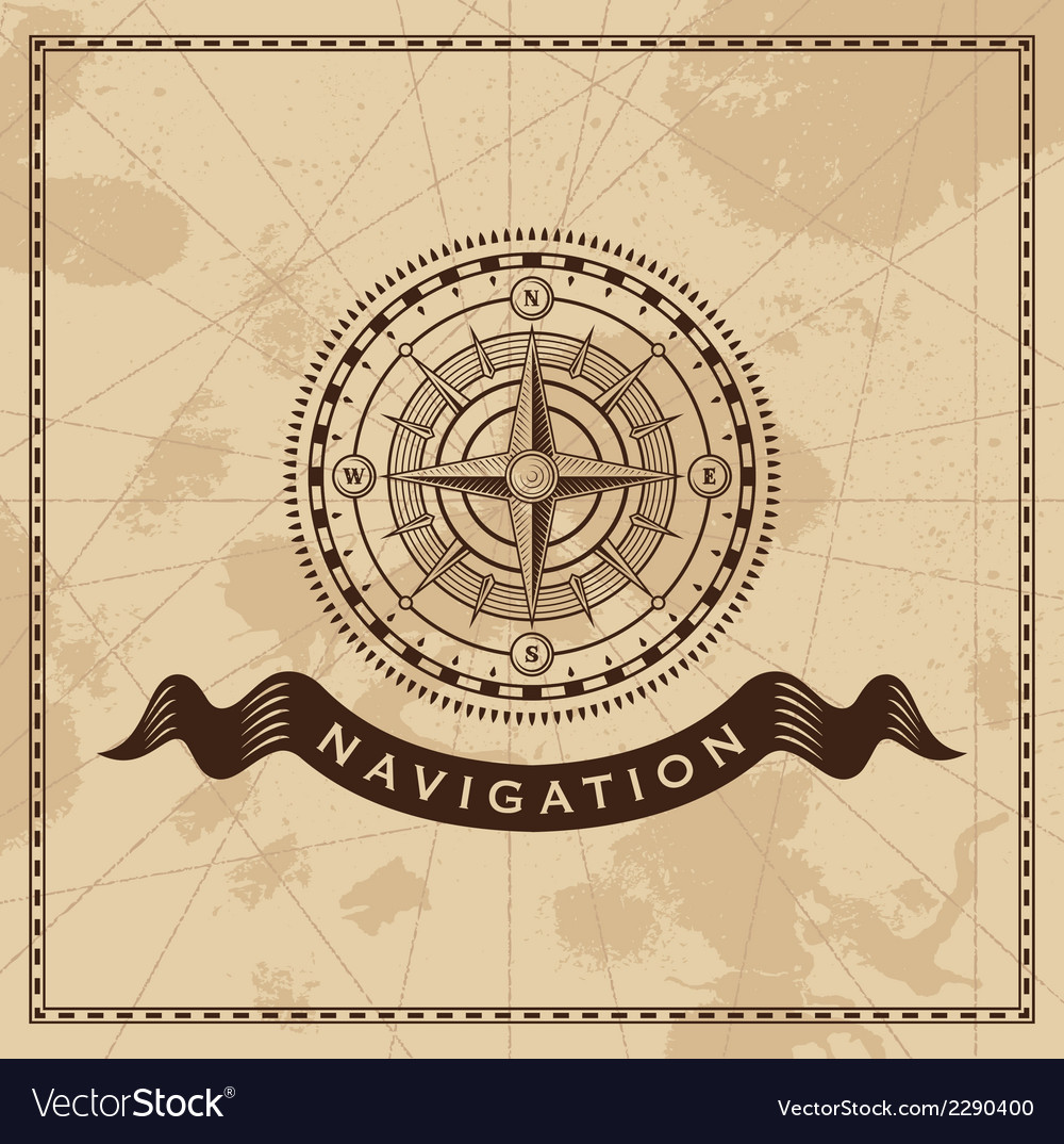 Wind rose  nautical compass design element vector