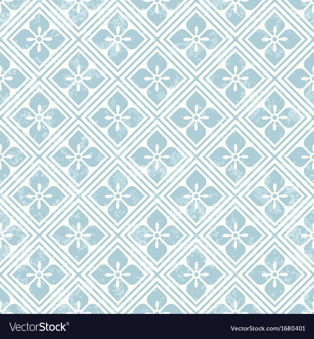 Geometric floral pattern in retro style vector