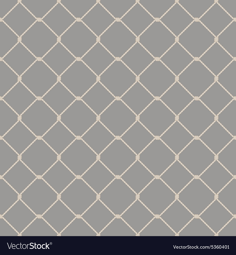 Nautical rope seamless fishnet pattern on gray vector