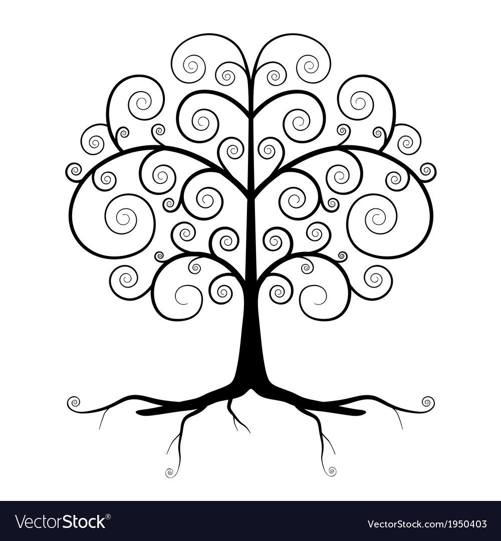 Abstract black tree vector