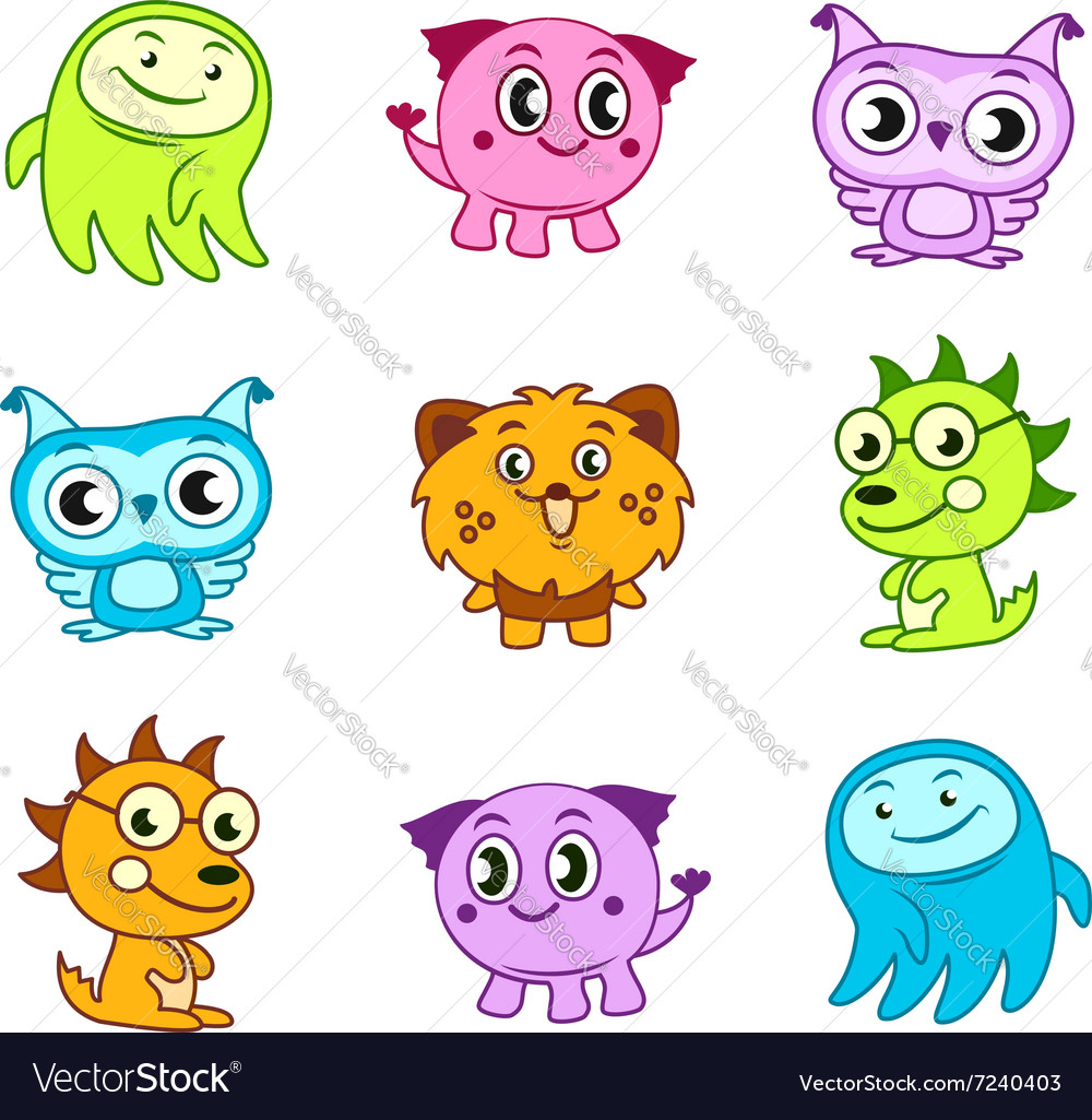 Cartoon funny monster kids vector