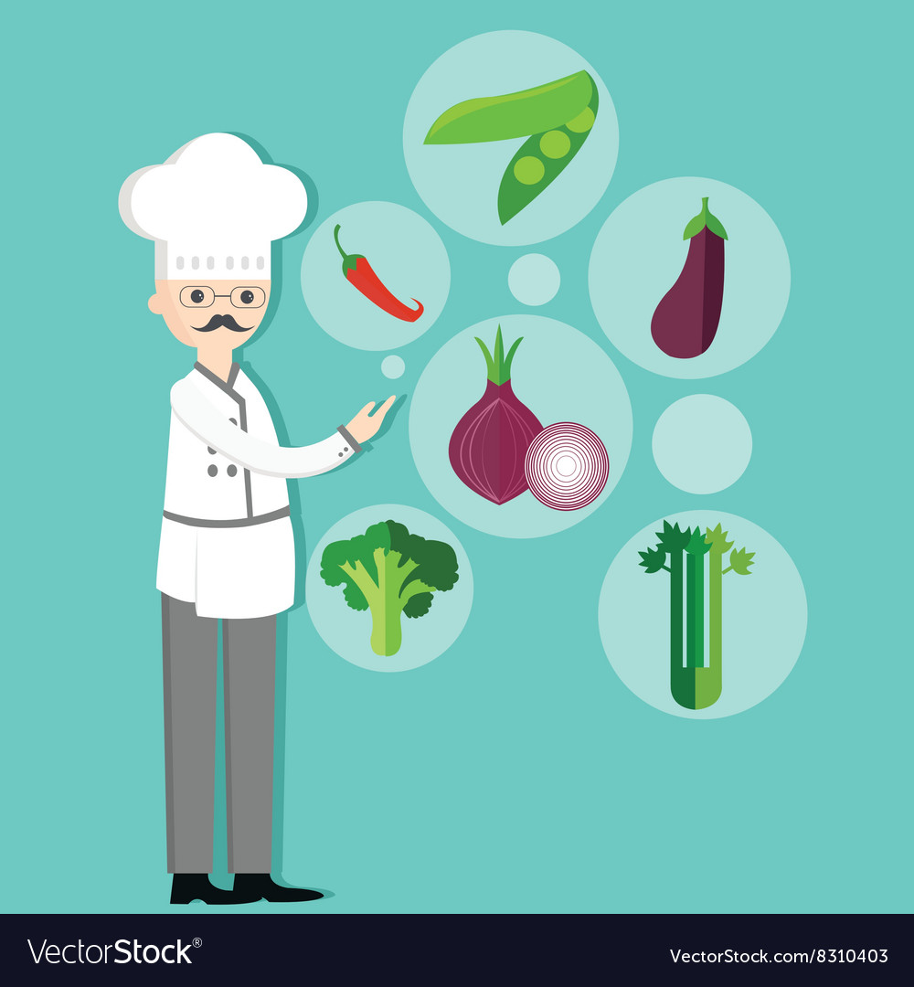 Chef character cartoon with hat and vegetables vector