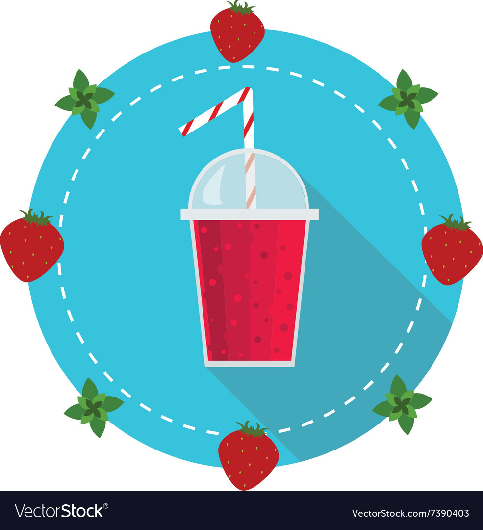 Healthy fruit smoothie in flat style vector