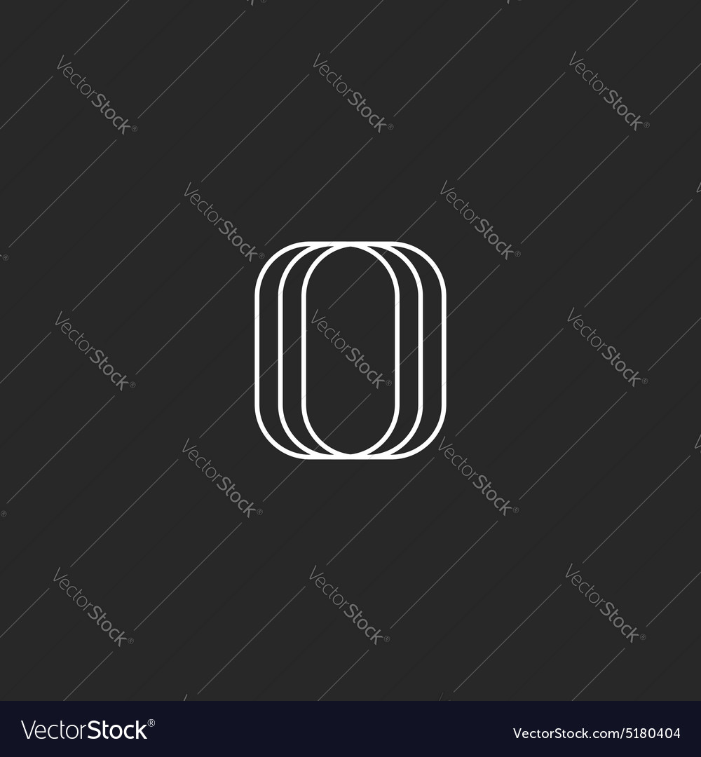 Letter o logo modern monogram black and white vector