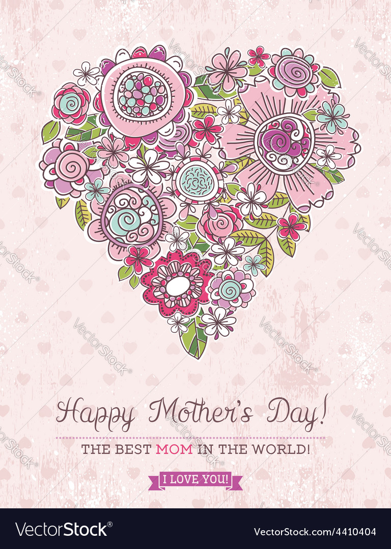 Pink mothers day card with big heart of spring fl vector