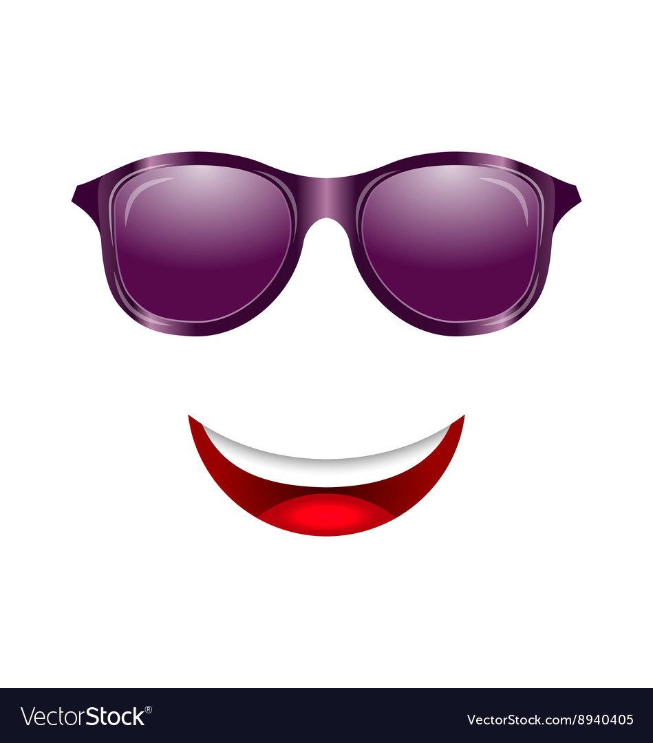 Abstract fun face with mouth and sunglasses vector