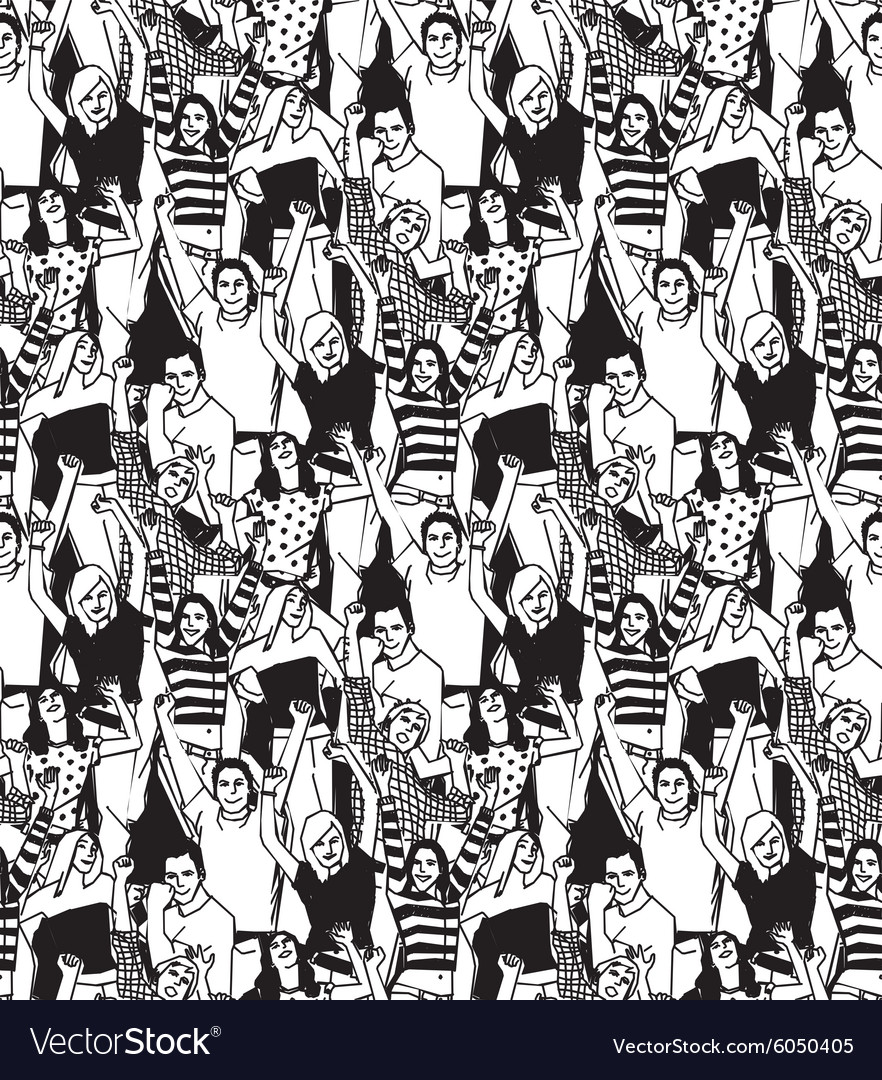 Crowd active happy people seamless black pattern vector