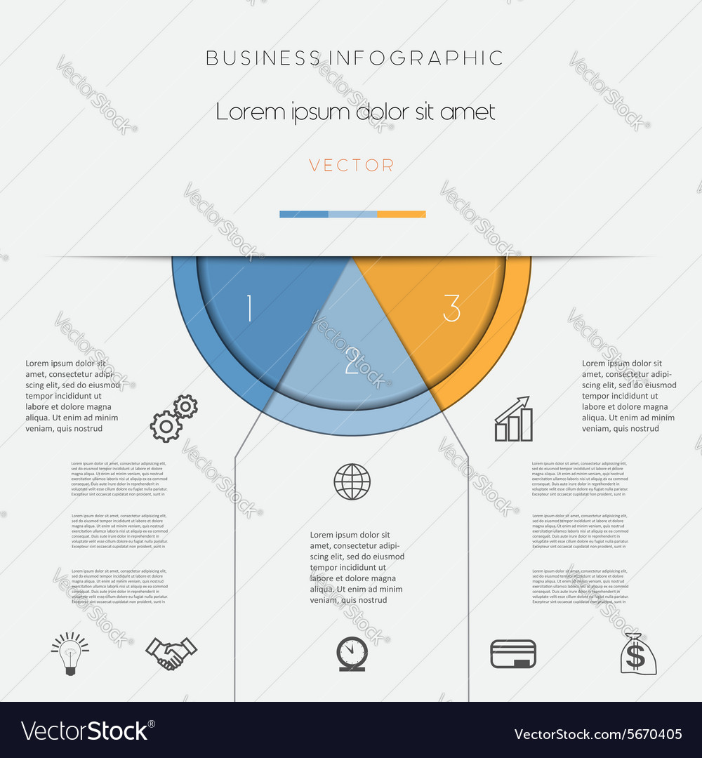Infographic color semicircle on three positions vector