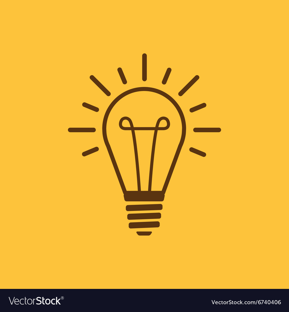 Lightbulb icon illumination symbol flat vector