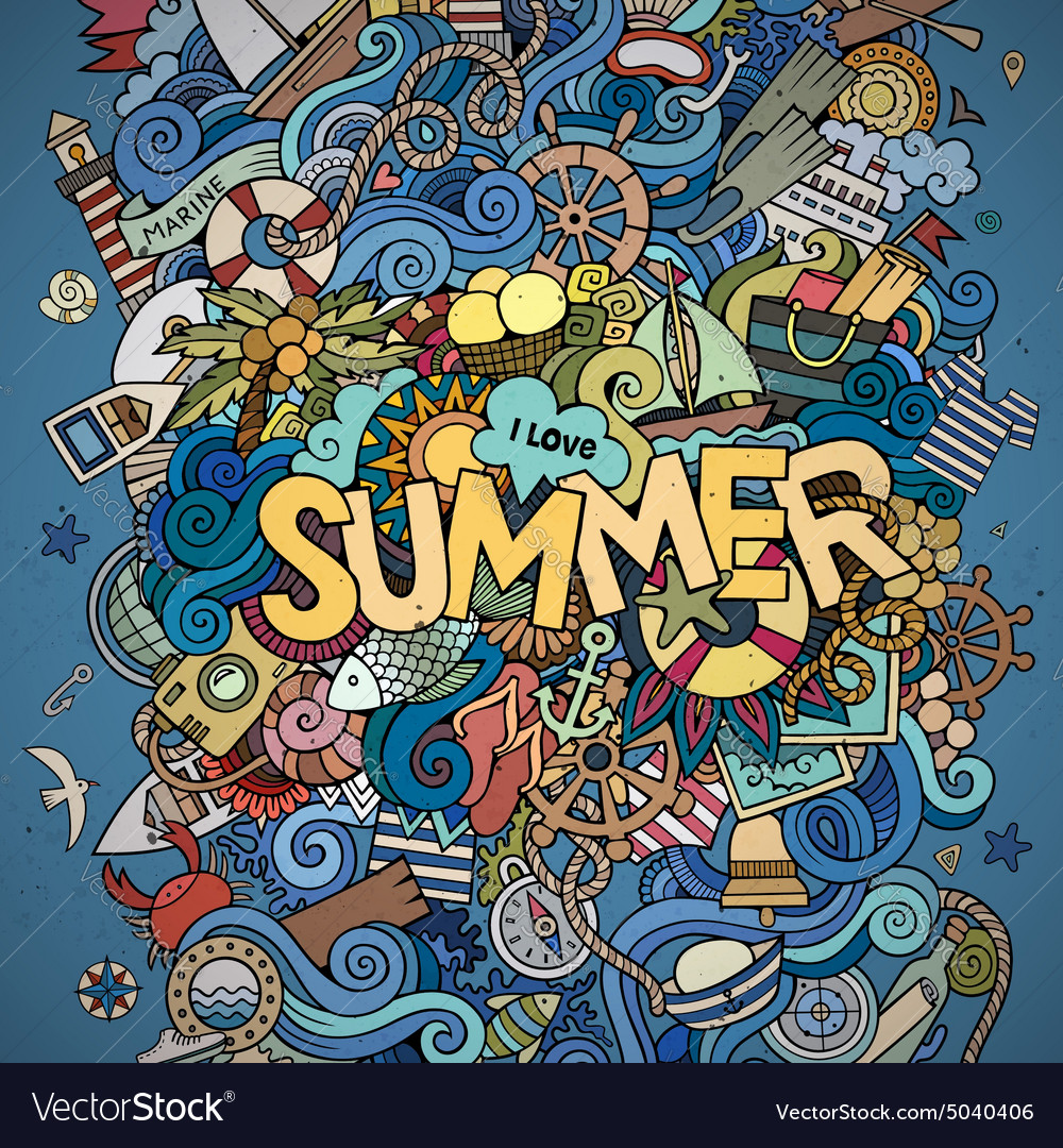 Summer hand lettering and doodles marine elements vector