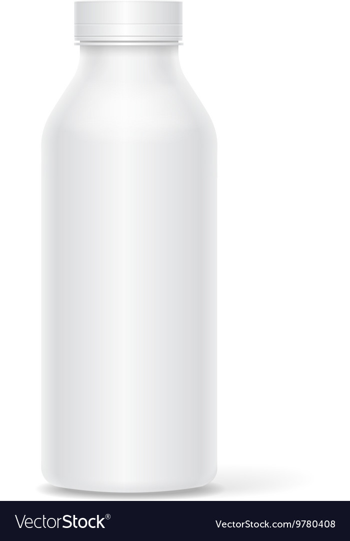 Realistic white plastic bottle for milk yogurt or vector
