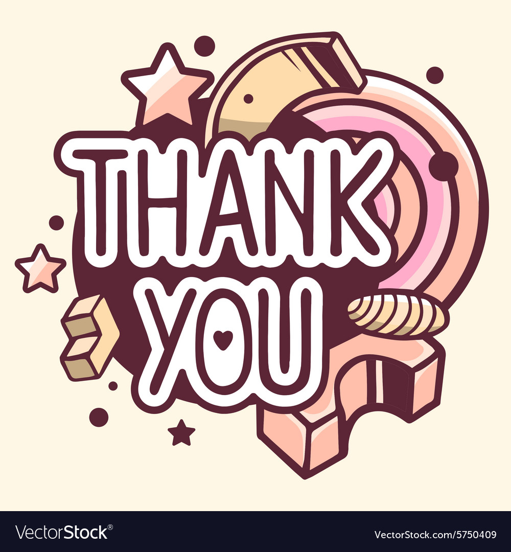Retro color thank you quote on abstract b vector