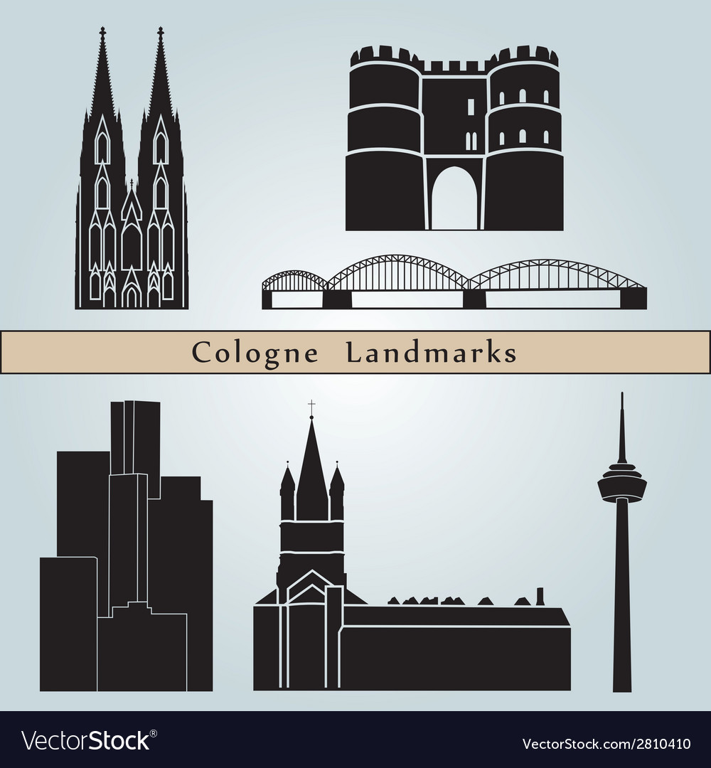 Cologne landmarks and monuments vector