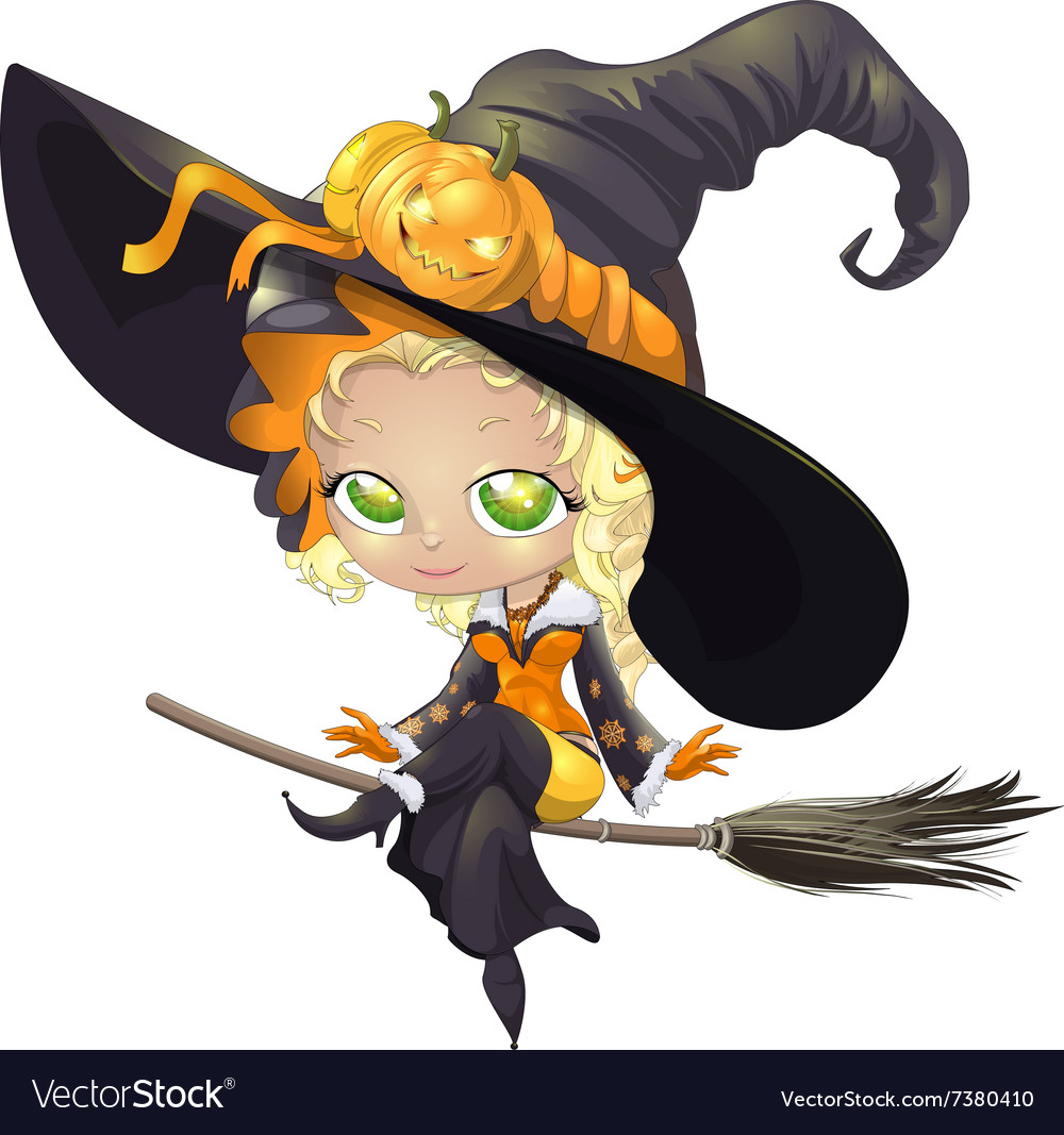 Pretty witch on a broom vector