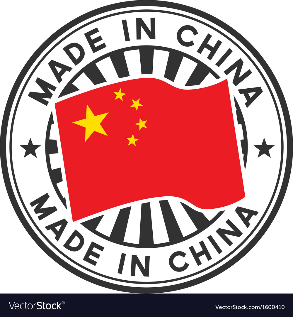 Stamp with flag of china lettering made in china vector