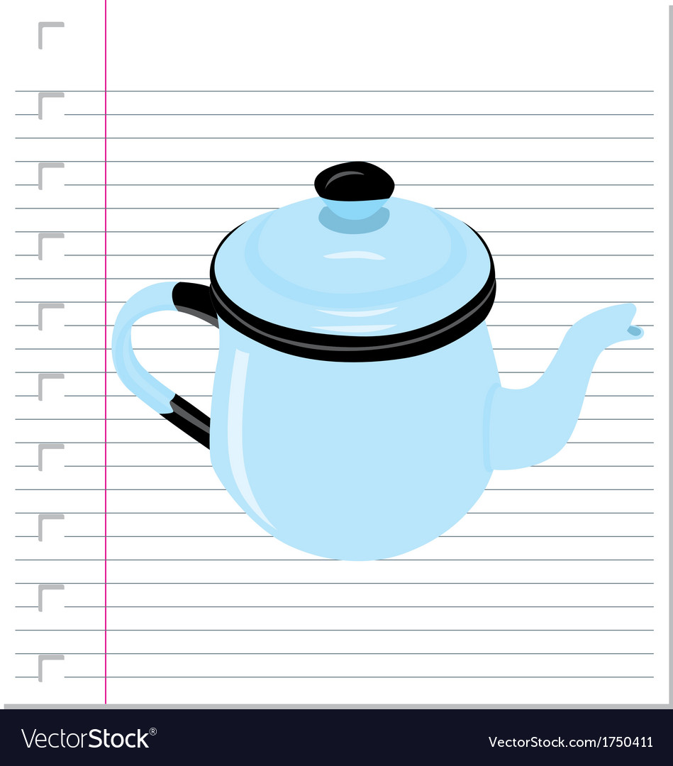Teapot with on paper vector
