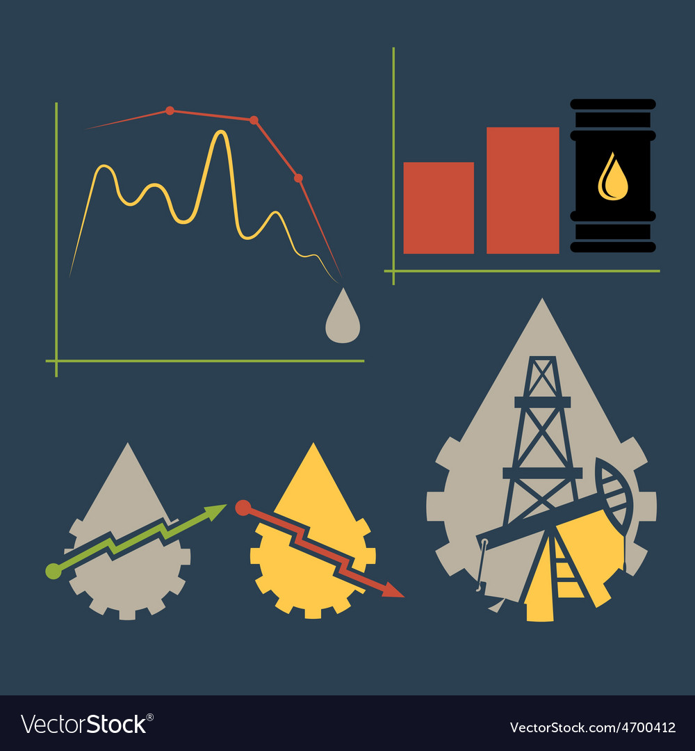 Oil industry elements and diagram fall and rise of vector