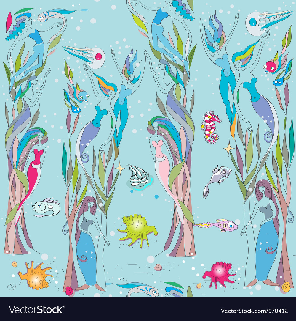 Under the sea pattern vector