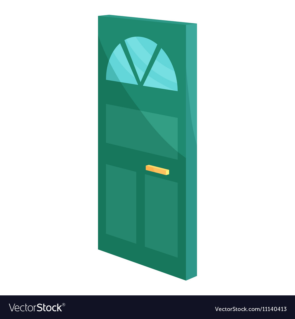 Cabinet door icon cartoon style vector