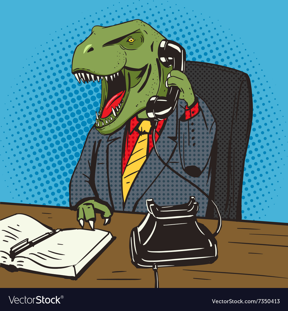 Dinosaur businessman talks phone pop art vector
